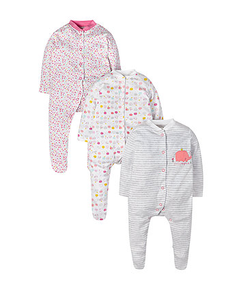 Elephant Sleepsuits - 3 Pack