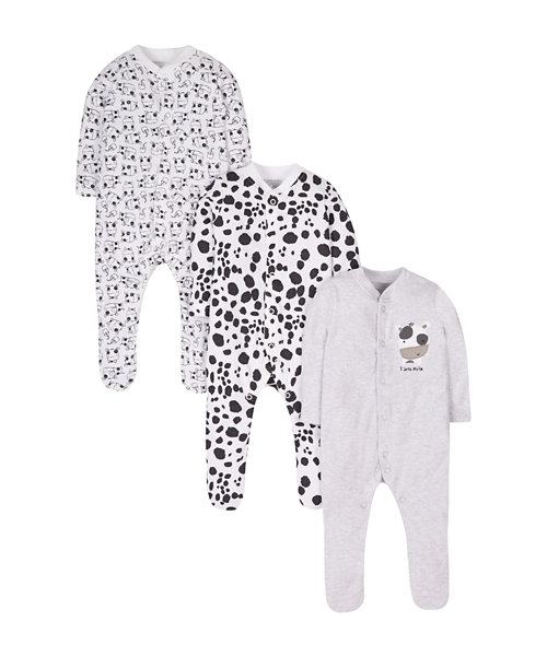 Cow Sleepsuits - 3 Pack