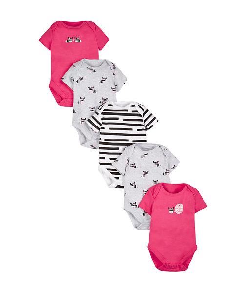 Zebra Bodysuits - 5 Pack