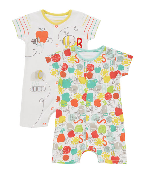 Happy Bugs Rompers - 2 Pack