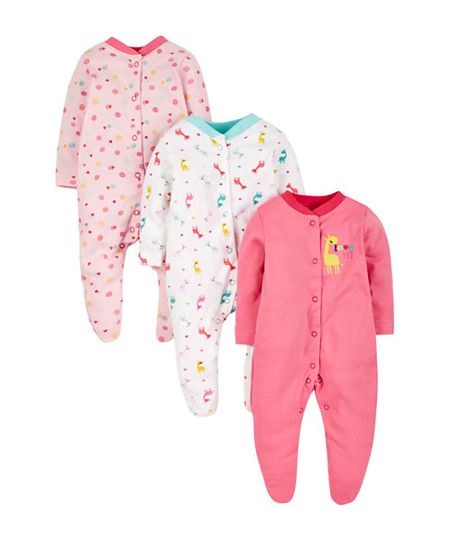 Little Giraffe Sleepsuits - 3 Pack