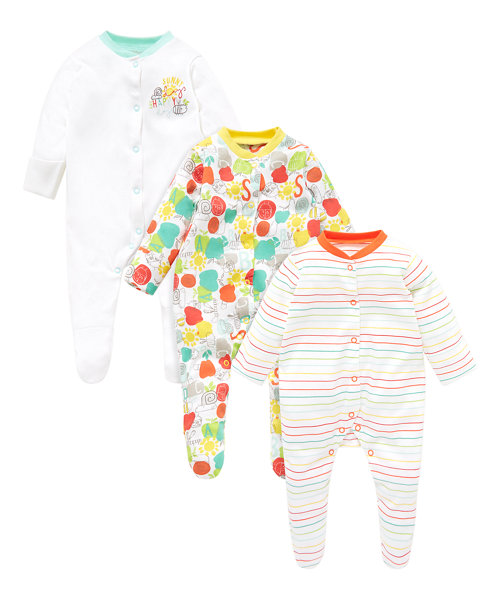 Happy Bug Sleepsuits - 3 Pack