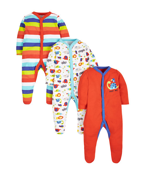 Sea Side Sleepsuits - 3 Pack