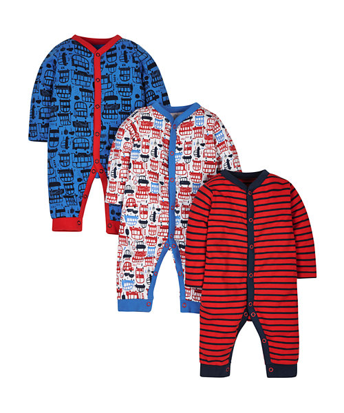 Mothercare Transport Boys Sleepsuits - 3 Pack