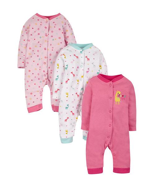 Giraffe Sleepsuit Footless - 3 Pack