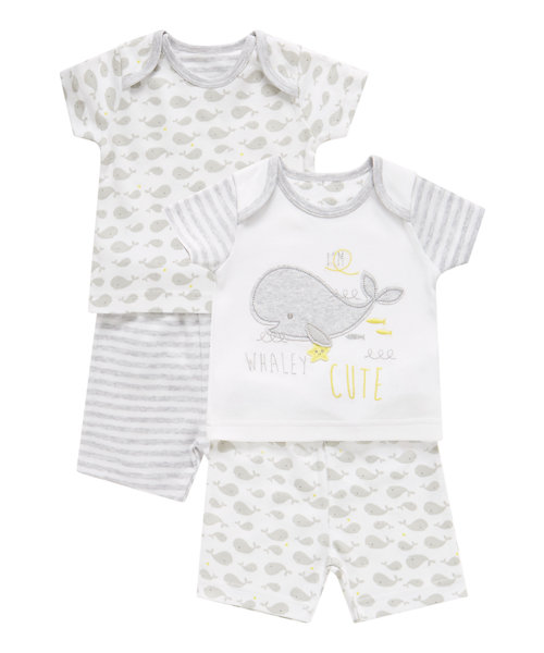 Whale Shortie Pyjamas - 2 Pack