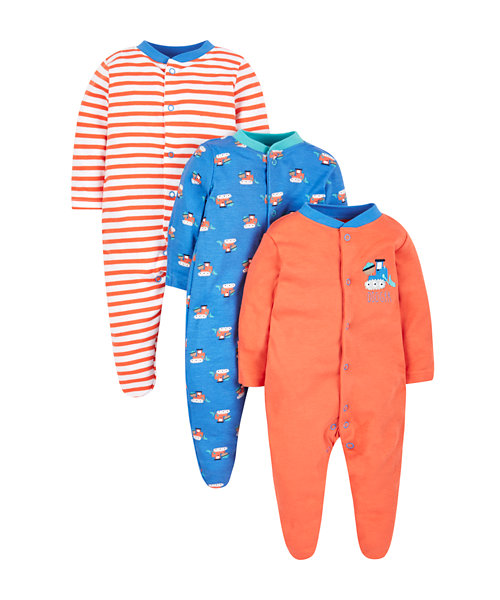 Digger Sleepsuits - 3 Pack