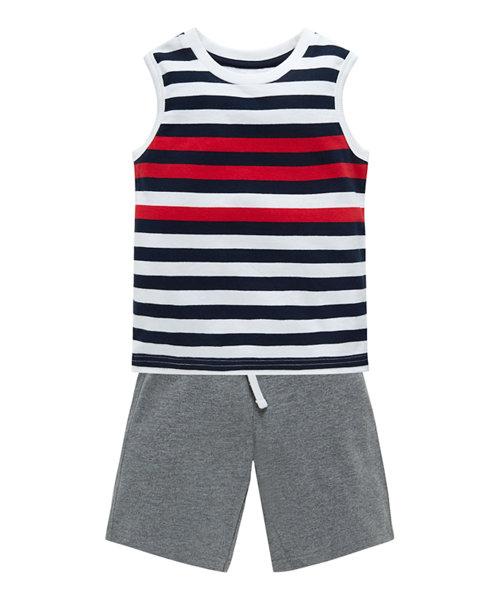 Multi Stripe T-Shirt & Greymarl Short Set