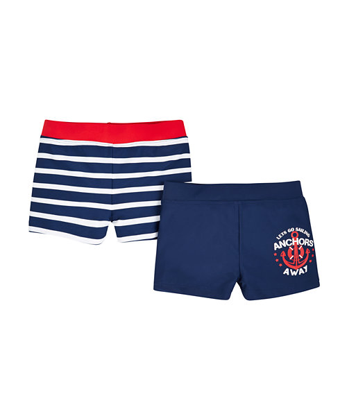 Navy and Stripe Trunkie Swim Shorts - 2 Pack