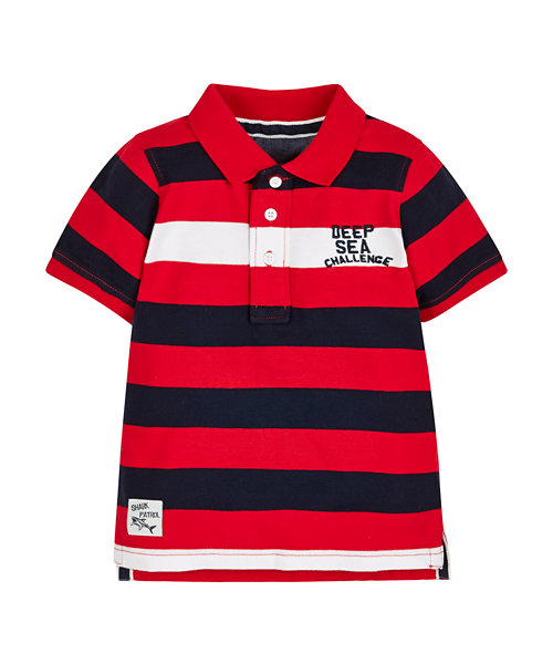 Red Stripe Sueded Jersey Polo