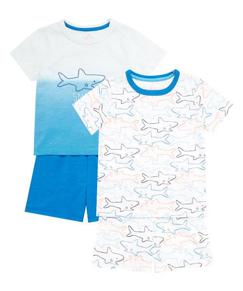 Snappy Shark Shortie Pyjamas - 2 Pack