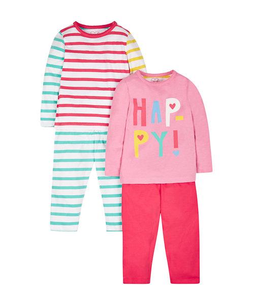 Happy Stripy Pyjamas - 2 Pack