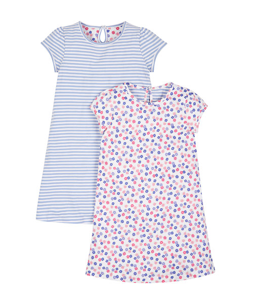 Floral and Striped Nightdresses - 2 Pack