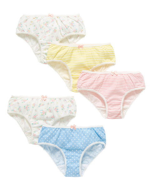Floral, Spot and Striped Briefs - 5 Pack