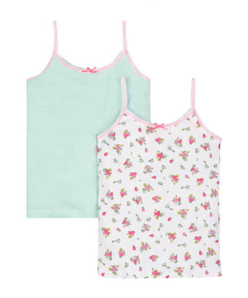 Floral and Striped Cami Vests - 2 Pack