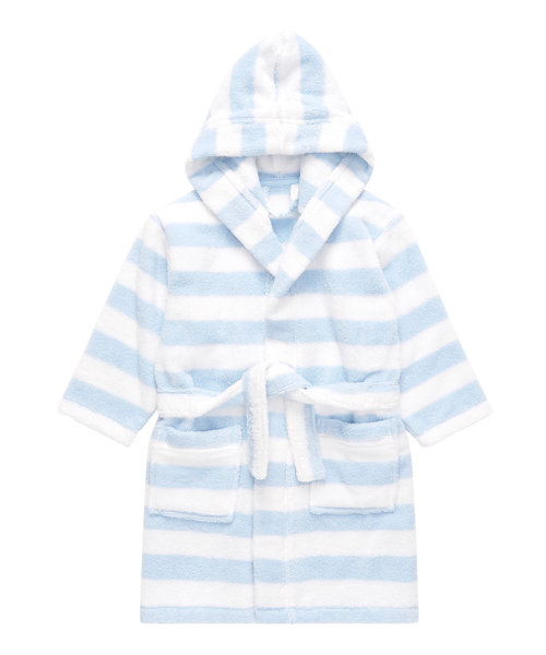 Blue Striped Towelling Robe