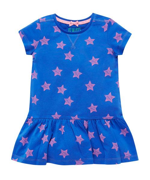 Blue Ground Star Jersey Dress