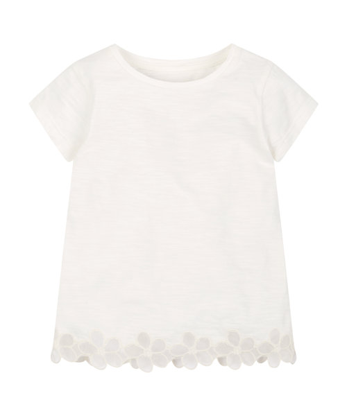Cream Slub T-Shirt With Flower Trim
