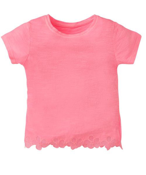 Pink Slub T-Shirt With Flower Trim