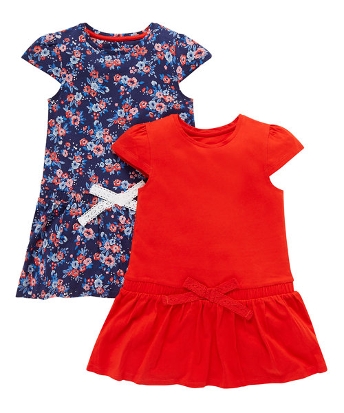 Red and Floral Dress - 2 Pack
