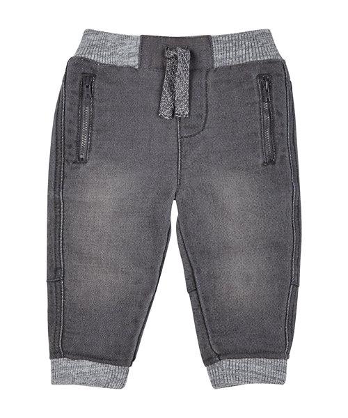 Grey Ribwaist Denim Look Joggers