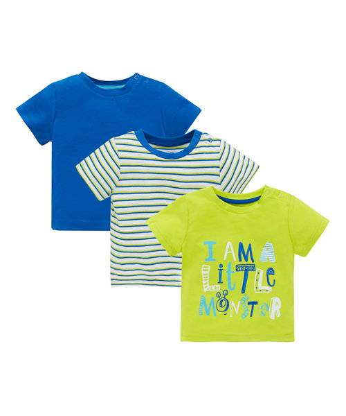 Blue, Striped and Monster T-Shirt - 3 Pack