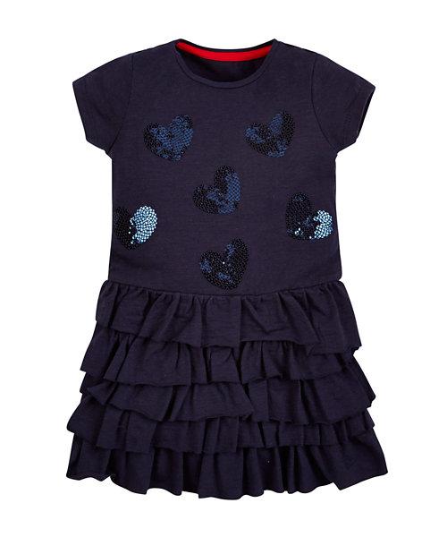 Navy Jersey Sequin Dress