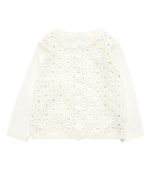 White Crochet Front Cardigan