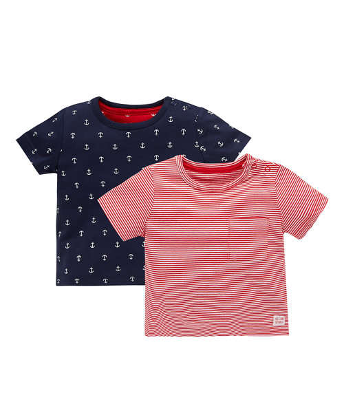 Anchor All Over Printed and Stripe T-Shirt - 2 Pack