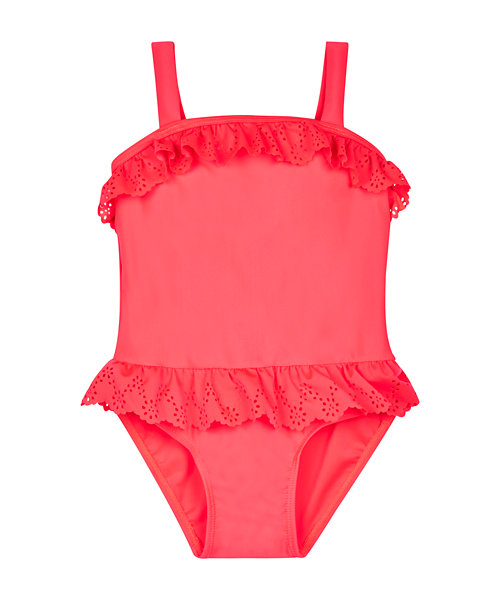 Pink Lazer Cut Frill Swimsuit