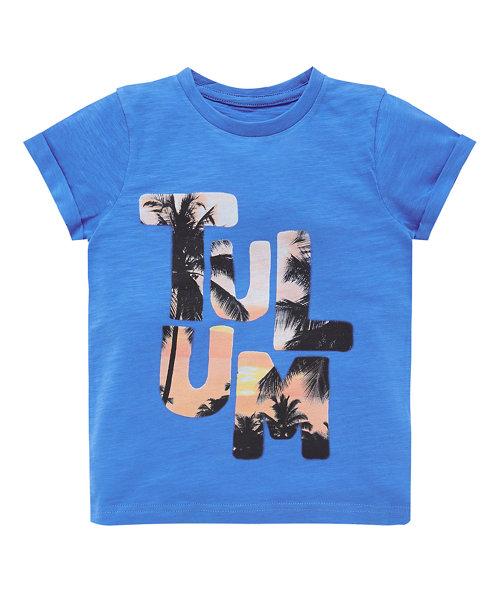 Blue Slub Tulum Slogan T-Shirt