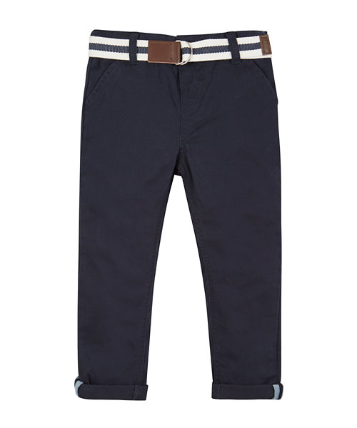 Navy Peached Twill Belted Trousers
