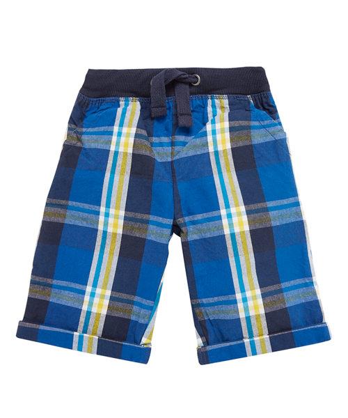 Blue Checked Rib Waist Shorts