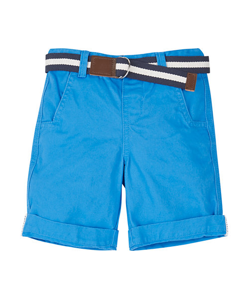 Bright Blue Peached Belted Short