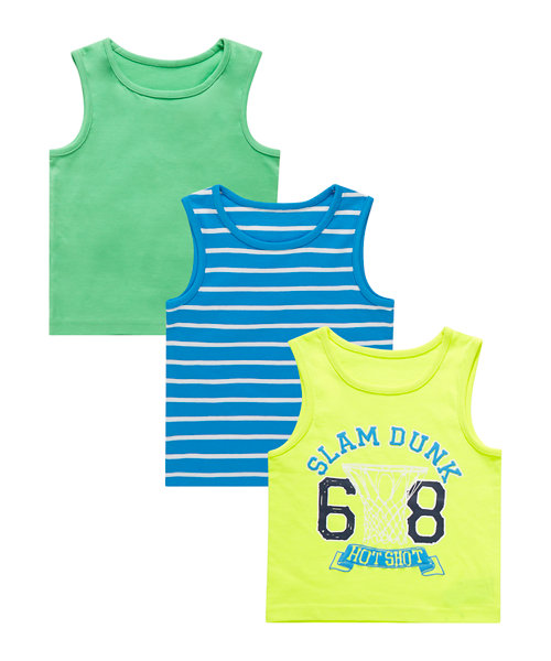 Green, Striped and Printed Vests - 3 Pack