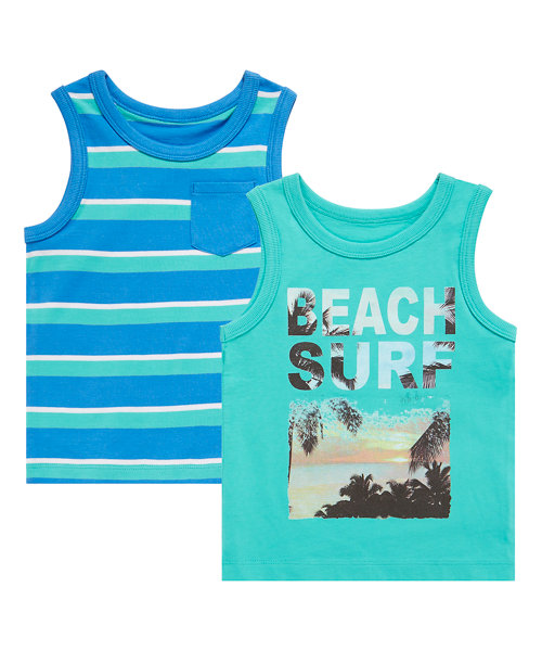 Stripy and Printed Vests - 2 Pack