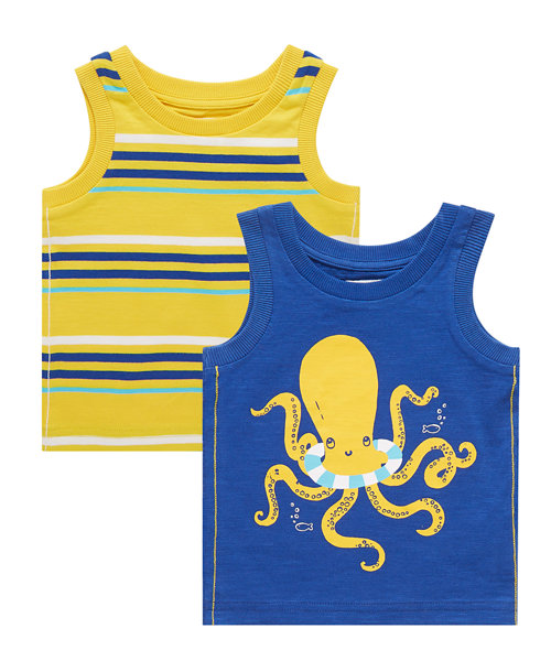 Octopus and Stripe Vests - 2 Pack