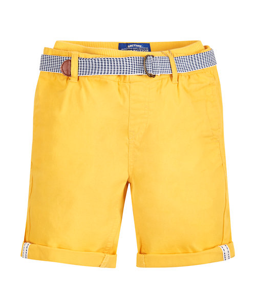 Yellow Ribwaist Twill Shorts