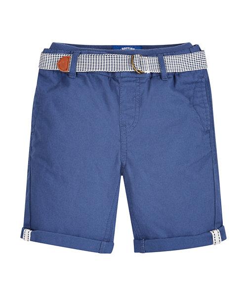 Navy Ribwaist Twill Shorts