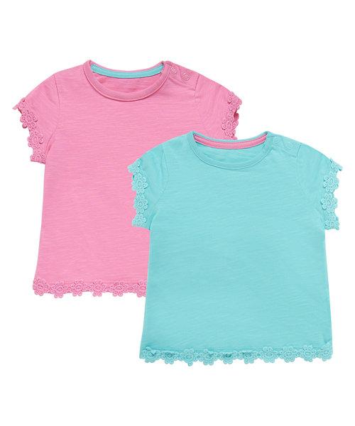 Crochet Daisy Trim T-Shirts - 2 Pack
