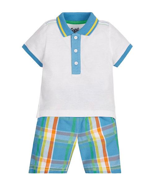 Polo Shirt and Checked Shorts Set