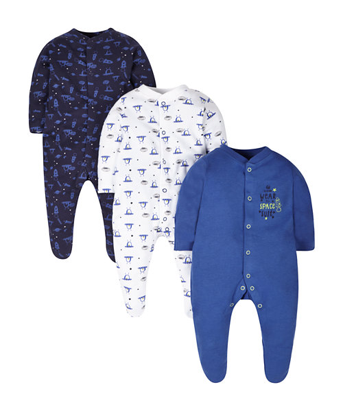 Space Sleepsuits - 3 Pack