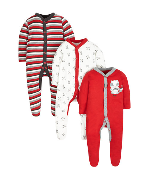 Raccoon Sleepsuits - 3 Pack