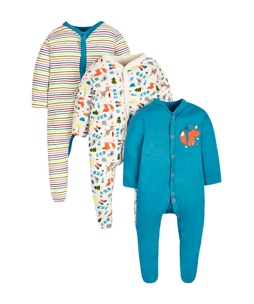 Mr Fox Sleepsuits - 3 Pack