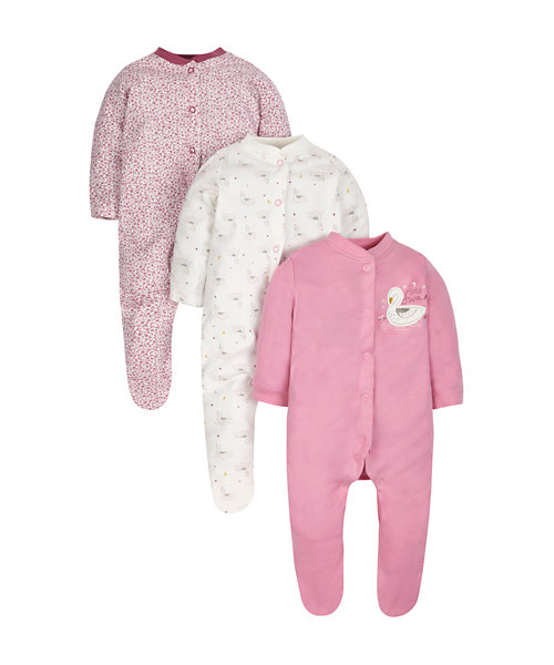 Little Swan Sleepsuits - 3 Pack