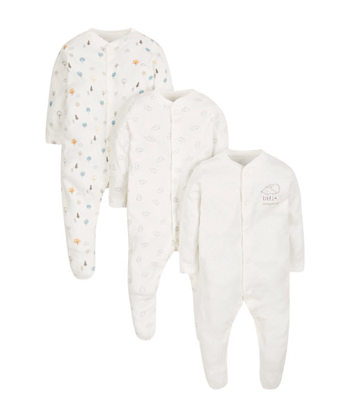 Little Hedgehog Sleepsuits - 3 Pack