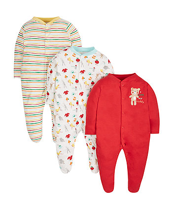 Teddy Sleepsuits - 3 Pack