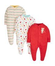 Teddy Sleepsuits - 3 Pack