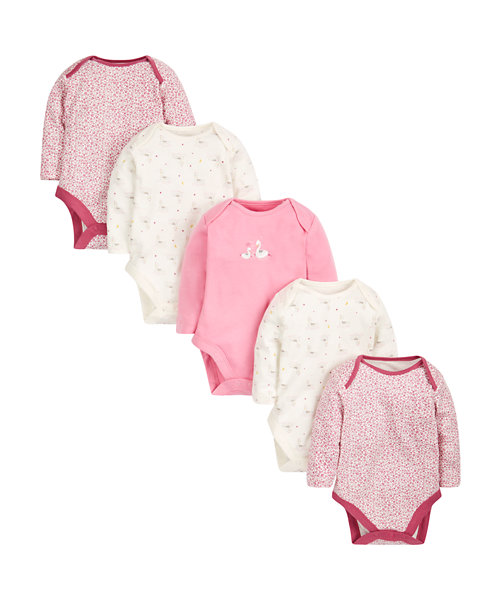 Little Swan Bodysuits - 5 Pack