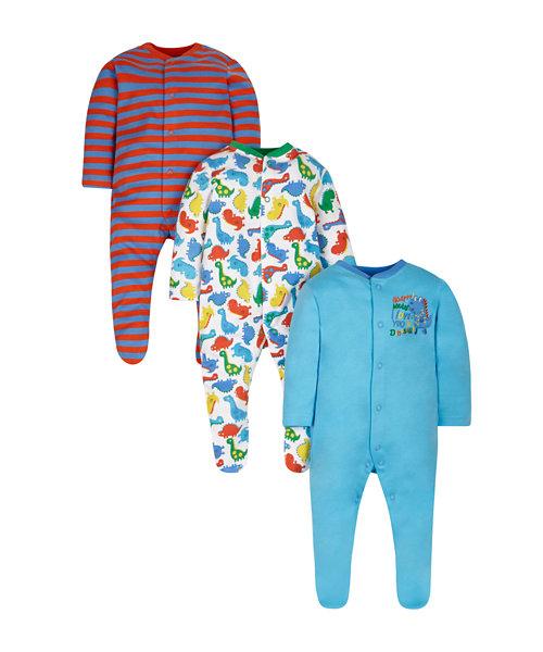 Bright Dinosaur Sleepsuits - 3 Pack